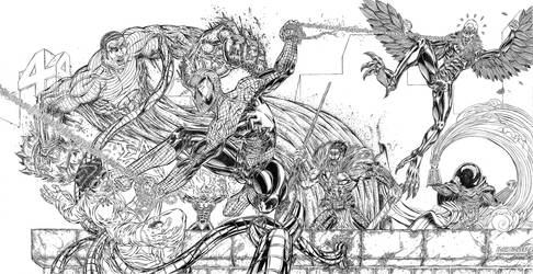 Spiderman Vs Sinister 6 (pencil)