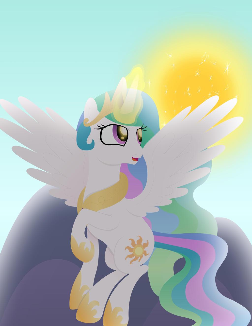 Princess Celestia Raising the Sun by MeredithHamil