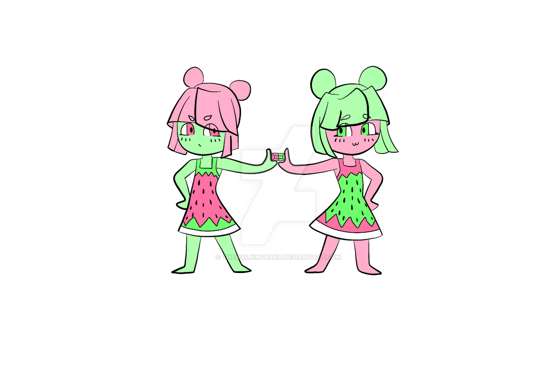 Watermelon Tourmaline Twins [ADOPT] (OPEN) by TheWalkingBaka
