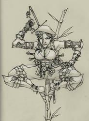 Half-Elf Thief (Line Art)