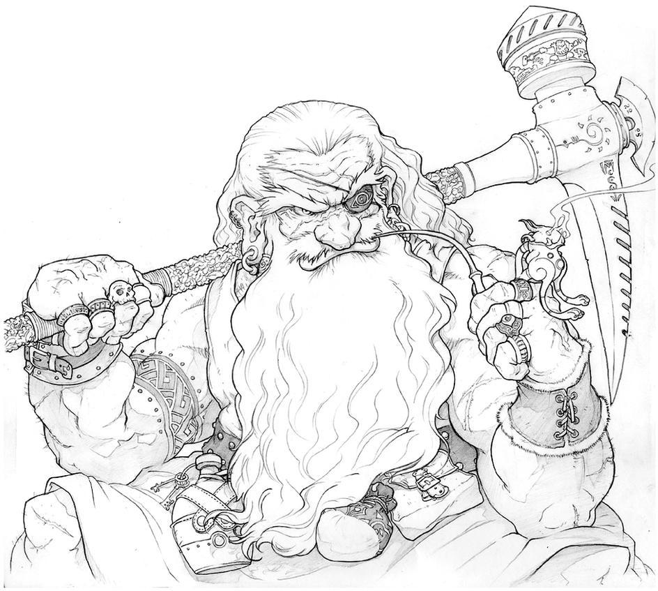 portrait of an unnamed dwarf by inkthinker