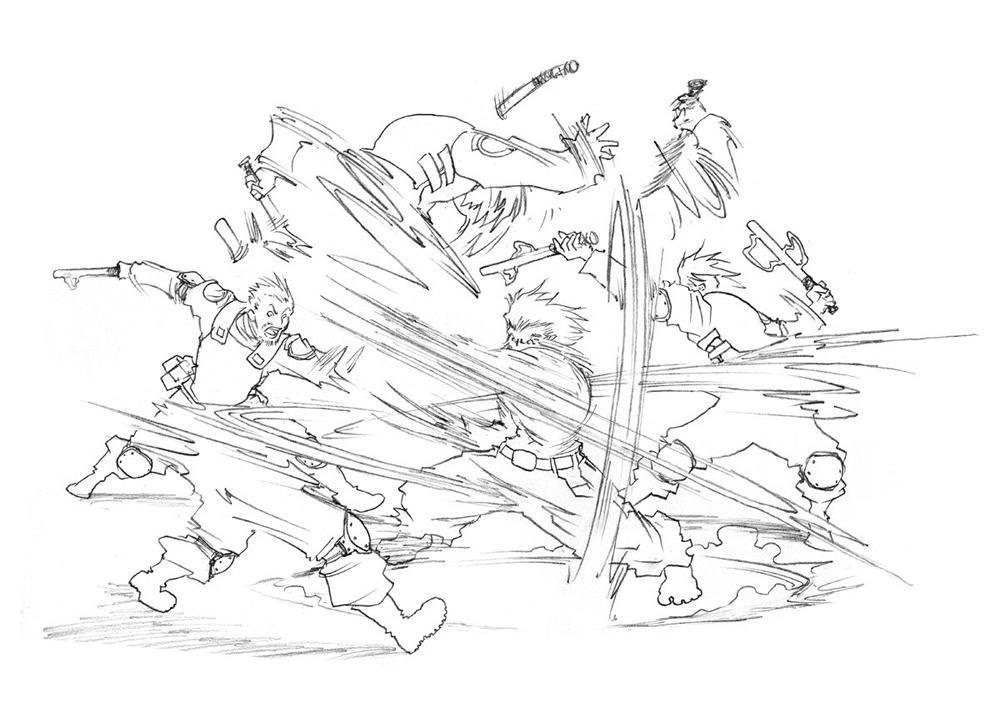 Berserker barrage - sketch by Inkthinker