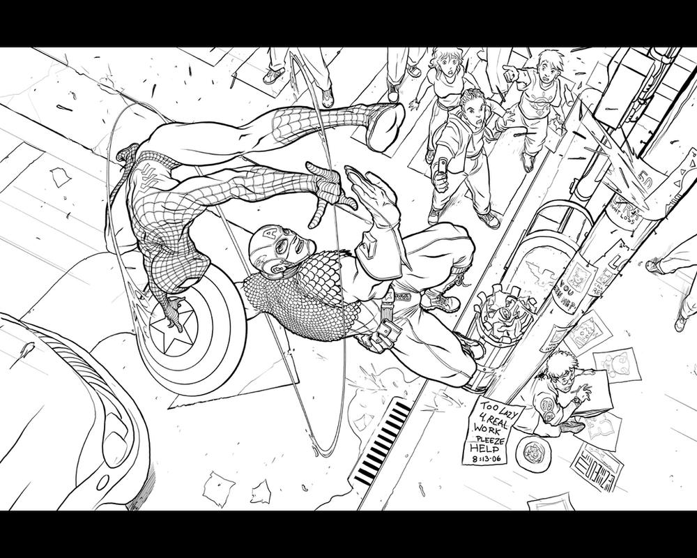 Captain America vs. Spider-Man by Inkthinker