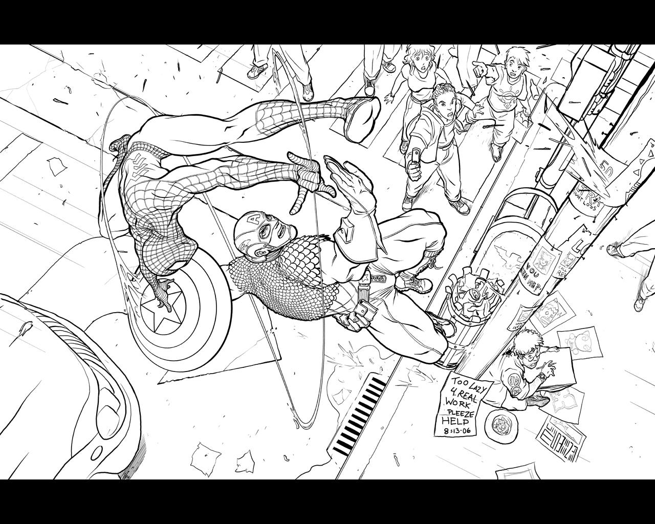 Captain America vs. Spider-Man by Inkthinker