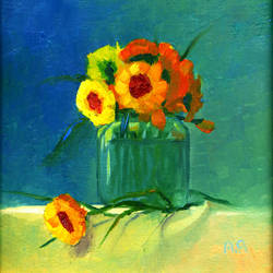 Still life with yellow flowers