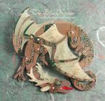 horned circuit dragon brooch