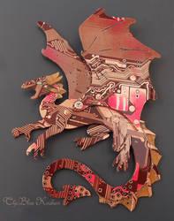 red spinned dragon brooch by thebluekraken