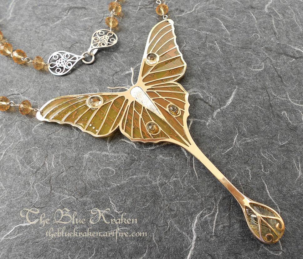 Fairy Moon Moth Necklace by thebluekraken