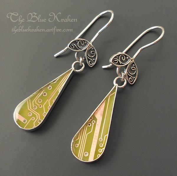 peridot circuit earrings by thebluekraken