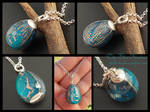 Bright Blue Robins Egg Circuit Pendant