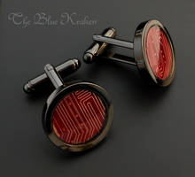 Jet and red circuit cufflinks