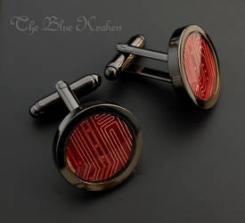Jet and red circuit cufflinks by thebluekraken