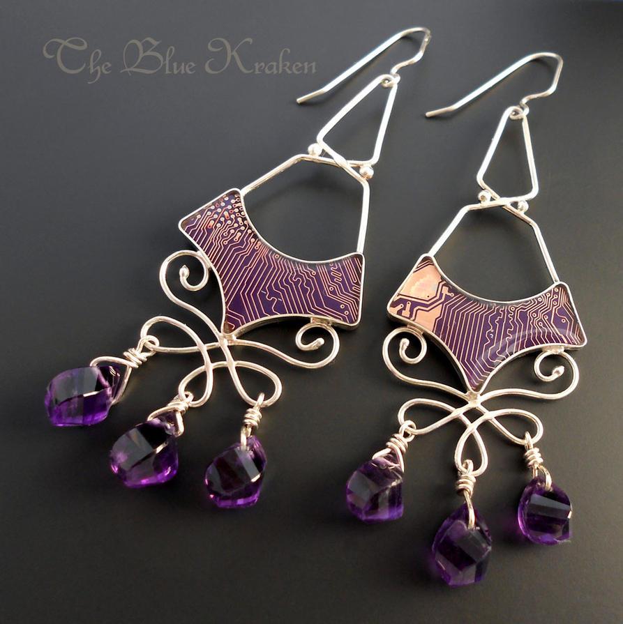 Amythest Drop Earrings by thebluekraken
