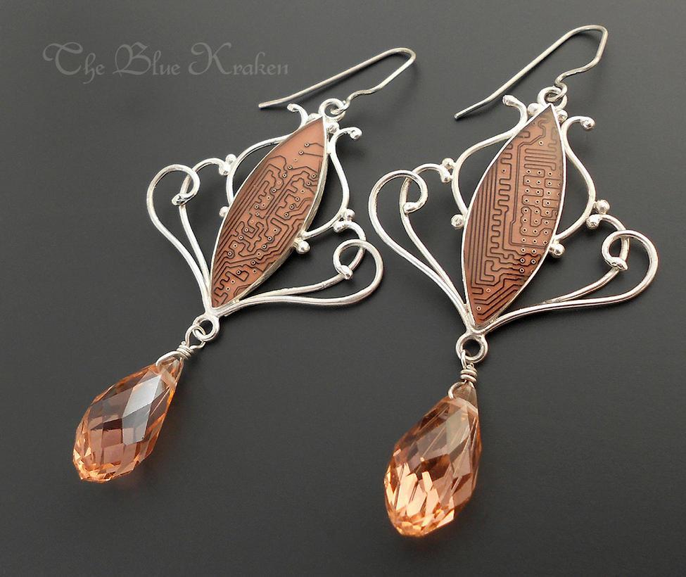 Peachy Circuit Earrings by thebluekraken