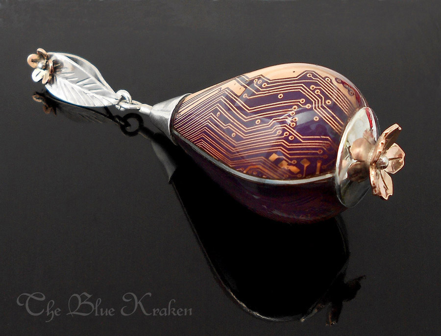 purple drop pendant in sterling and rose gold. by thebluekraken