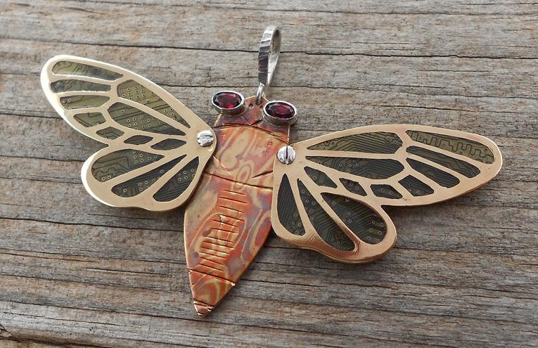 Mokume-gane cicada by thebluekraken