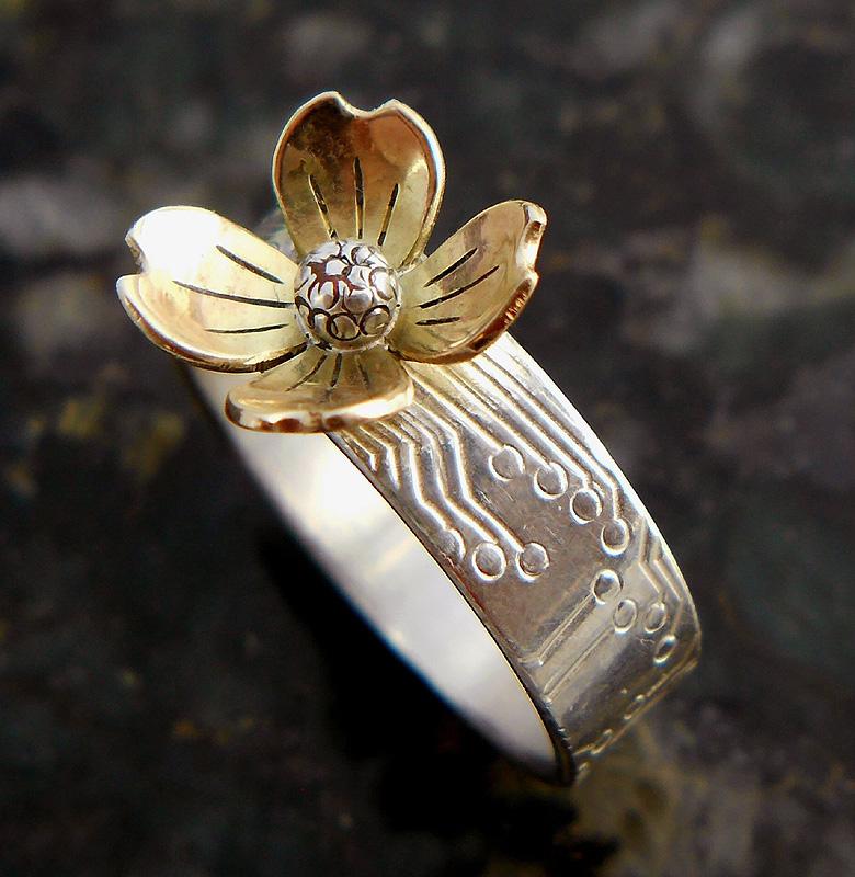gold dogwood ring by thebluekraken