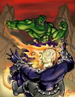 Hulk vs. Ghost Rider by Jrascoe