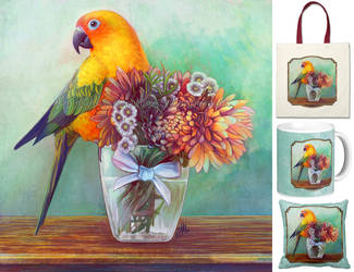 Sun conure and flowers by emmil