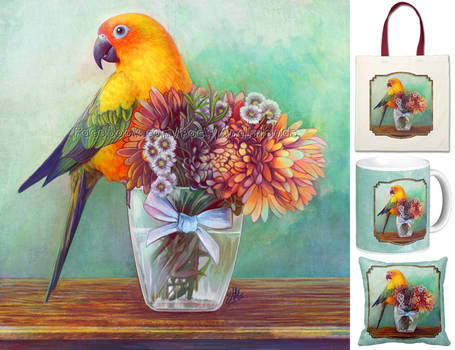 Sun conure and flowers