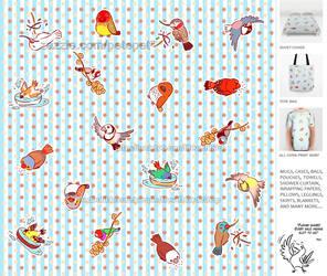 Cute finch cartoon pattern by emmil