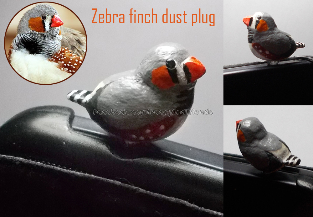 Zebra finch cell phone plug by emmil