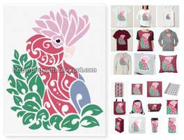 Galah cockatoo tribal tattoo design tshirt bag mug