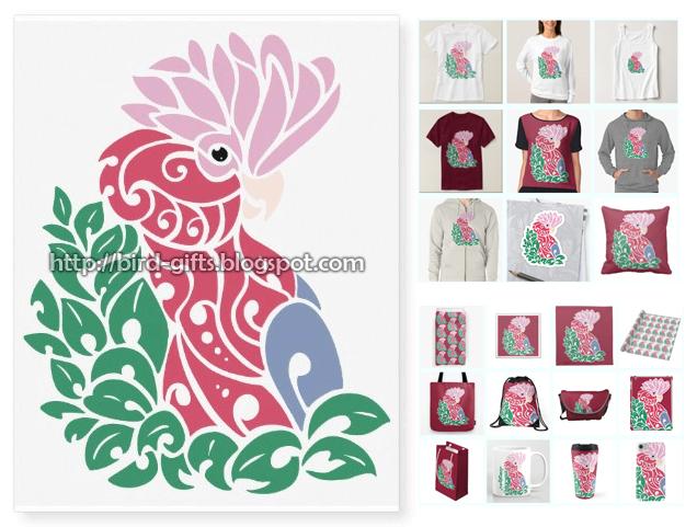 Galah cockatoo tribal tattoo design tshirt bag mug by emmil