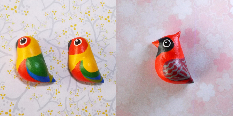 2 Conures and a cardinal bird fridge magnets by emmil