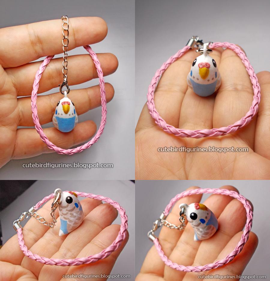 Cute clay handmade budgie bracelet by emmil