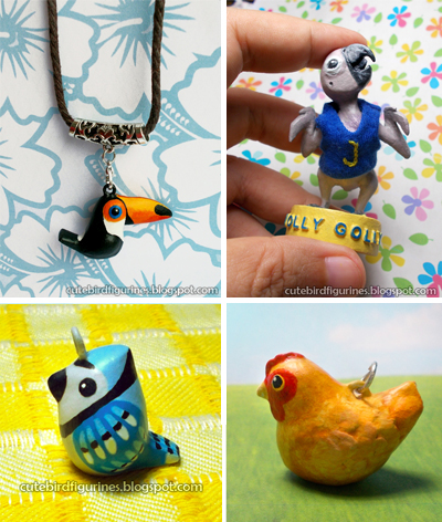 Custom handmade OOAK bird parrot chicken clay jewelry crafts for sale