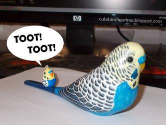 Harry budgie parrot bird sculpture by emmil