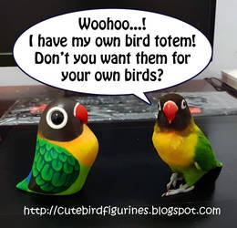 Lovebird parrot bird totem clay art by emmil