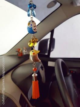 Rear-view mirror car budgie cockatiel charm