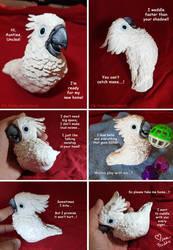 Hand sculpted umbrella cockatoo parrot sculpture by emmil