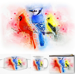 Red male cardinal, blue jay, goldfinch watercolor