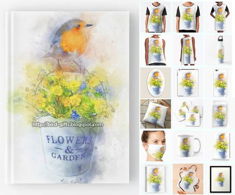 Robin bird on flower bucket