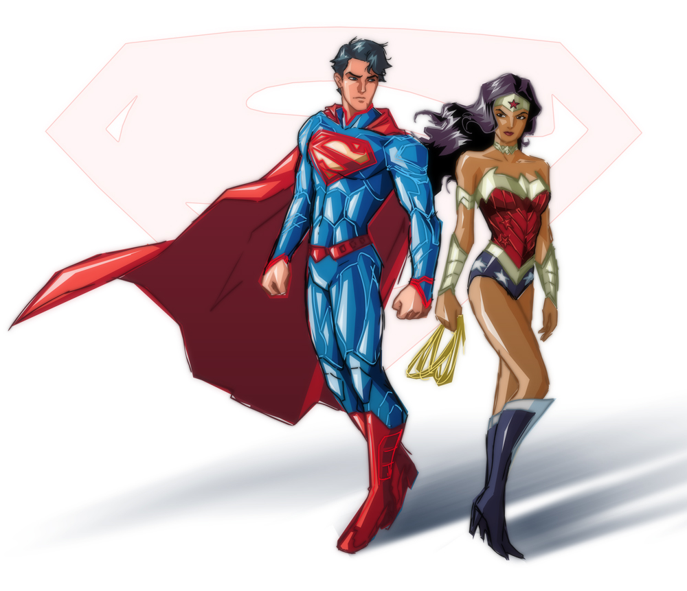 NEW 52 SUPERMAN and WONDER WOMAN by benlikesit