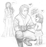 Anakin and his little princess - StarWarsAU sketch by KatyTorres