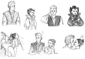 SW sketch - Anakin and Padme doodles by KatyTorres