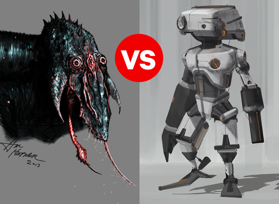 MONSTER vs ROBOT by HalHefnerART