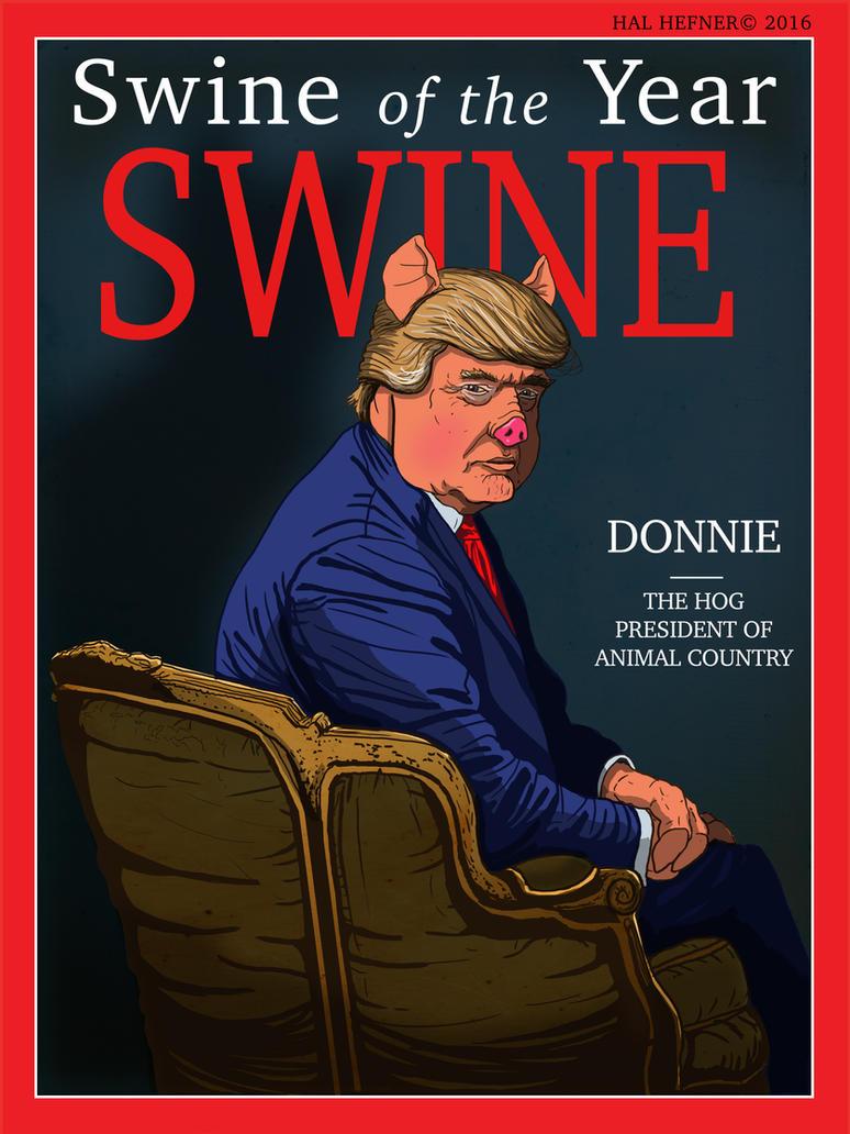 SWINE MAGZINE's SWINE OF THE YEAR - DONNIE THE HOG by HalHefnerART