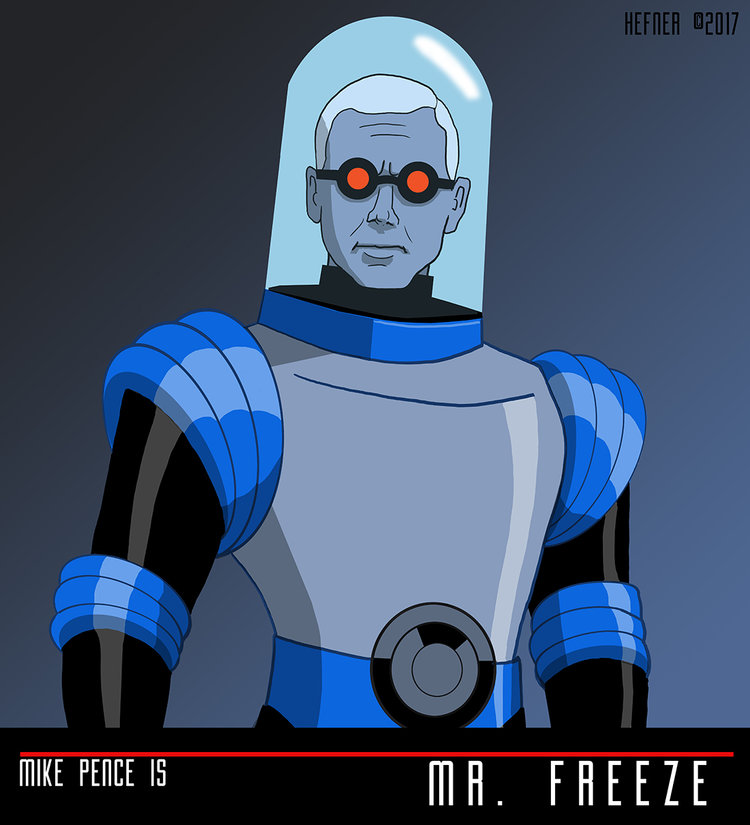 MIKE PENCE is MR. FREEZE by Hal Hefner by HalHefnerART