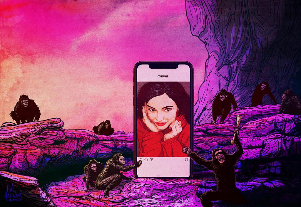 2001 Kylie Jenner and her apes of Instagram by HalHefnerART