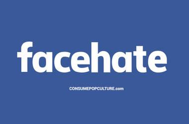 Facebook logo becomes facehate by Hal Hefner