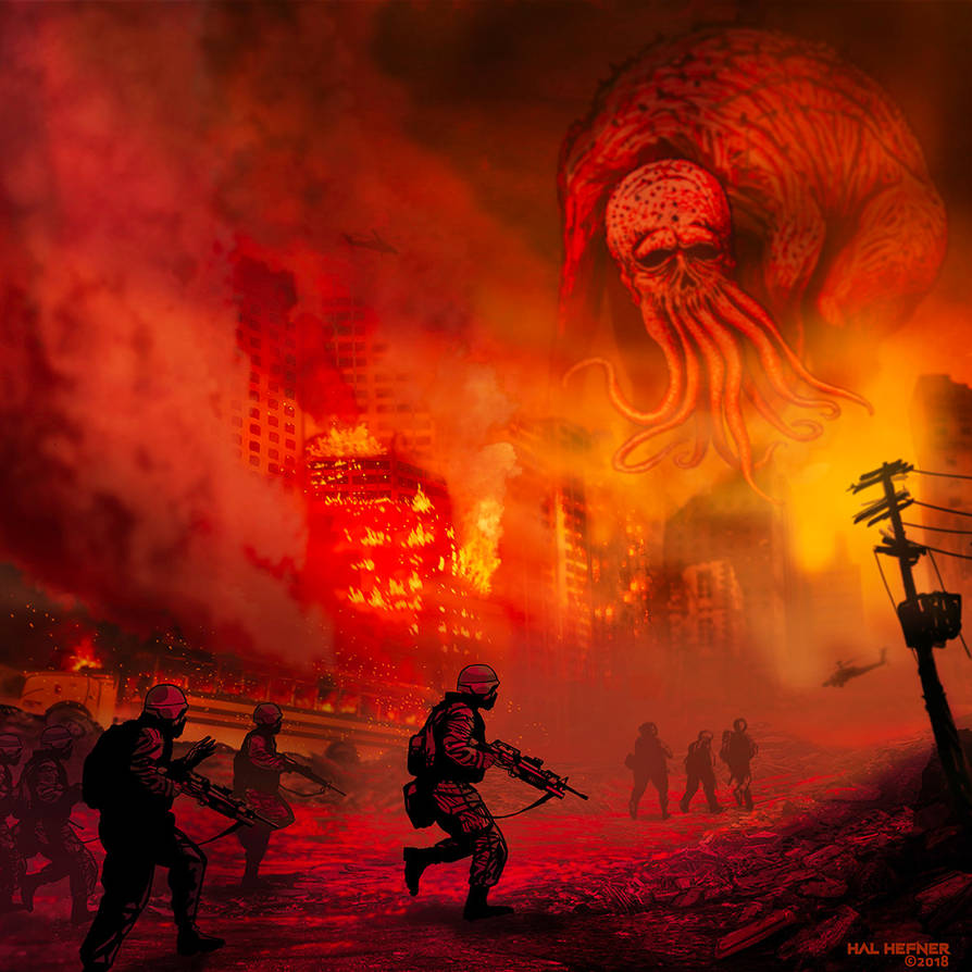 OF HAIL AND FIRE-CTHULHU by HalHefnerART
