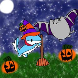 Vress-shark And Pusheen Halloween