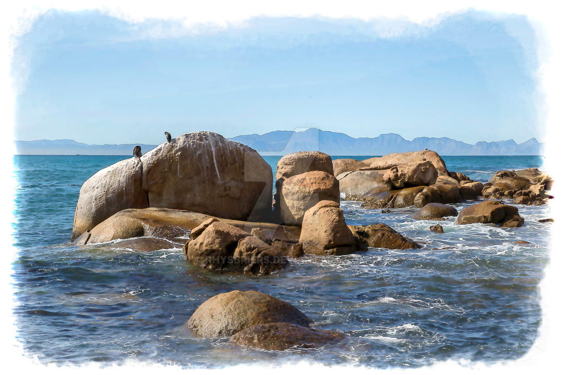 Fish hoek CapeTown photo water colour effect by RhysBriers