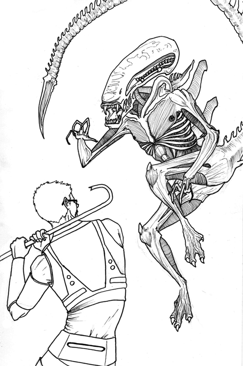 Xenomorph drawings easy related keywords xenomorph for Xenomorph coloring pages