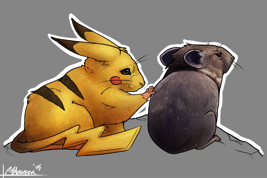 Pika and Pikachu by Ligers-mane